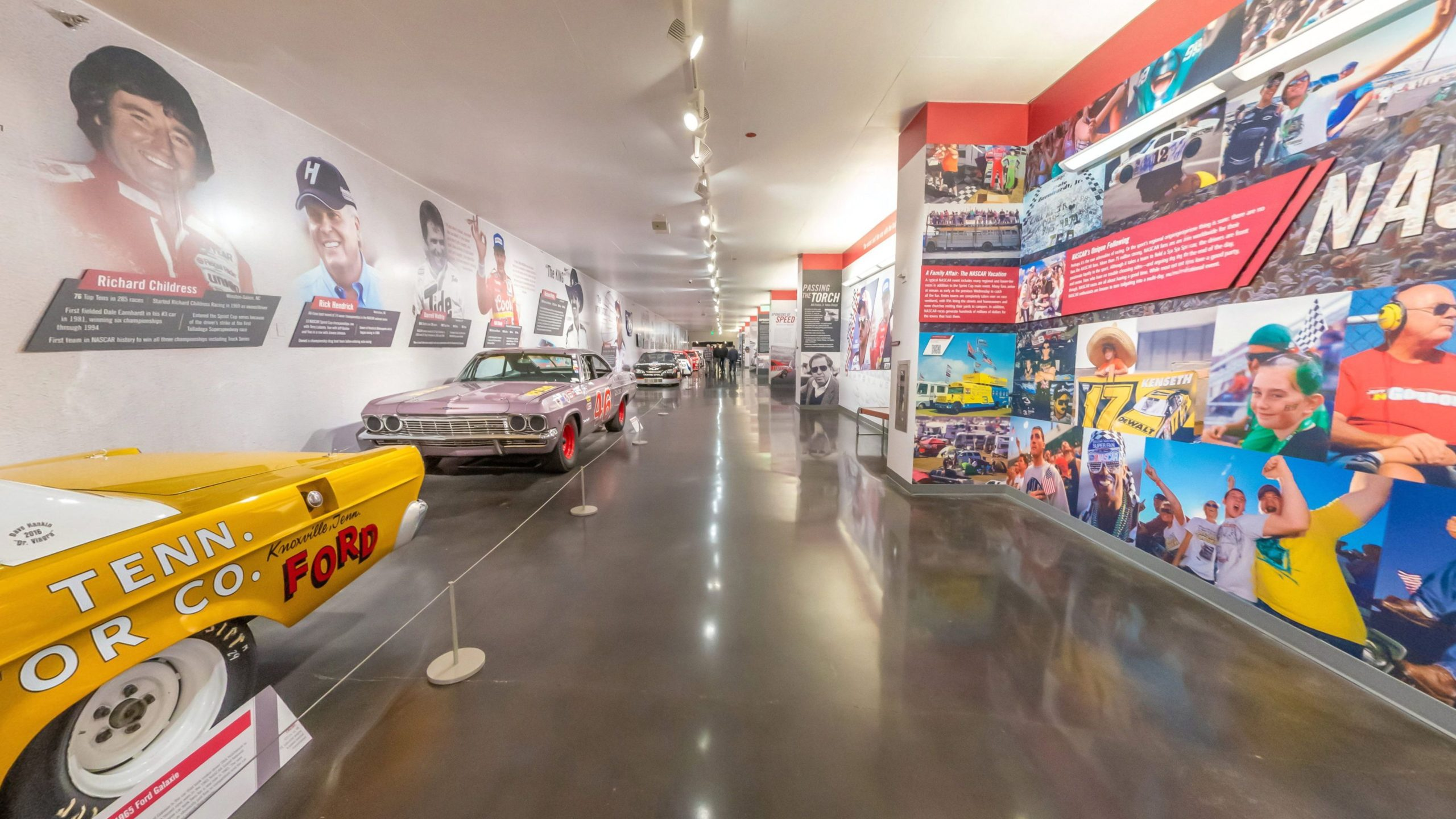 Exhibition of American's racing cars at the LeMay Museum. 360° photo.