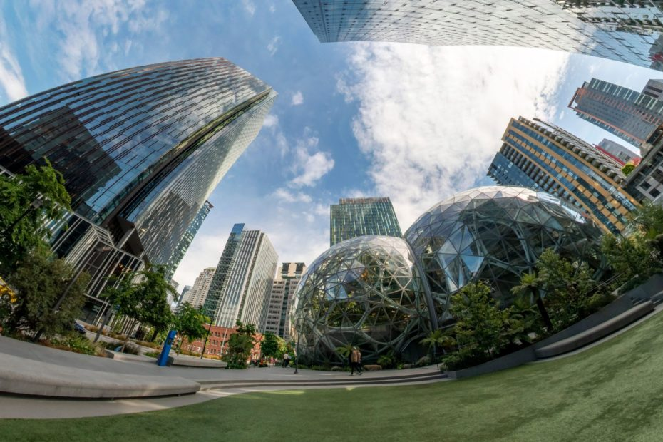 360° Photo. The Spheres are a place where employees can think and work differently surrounded by plants.